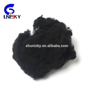 Black recycled polyester staple fiber for automotive interior fiber
